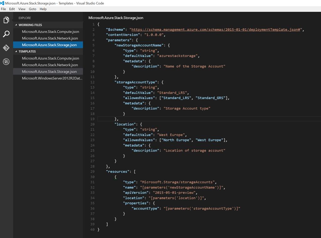 Azure Stack – IaaS VM ARM Template Deployment & JSON Editors
