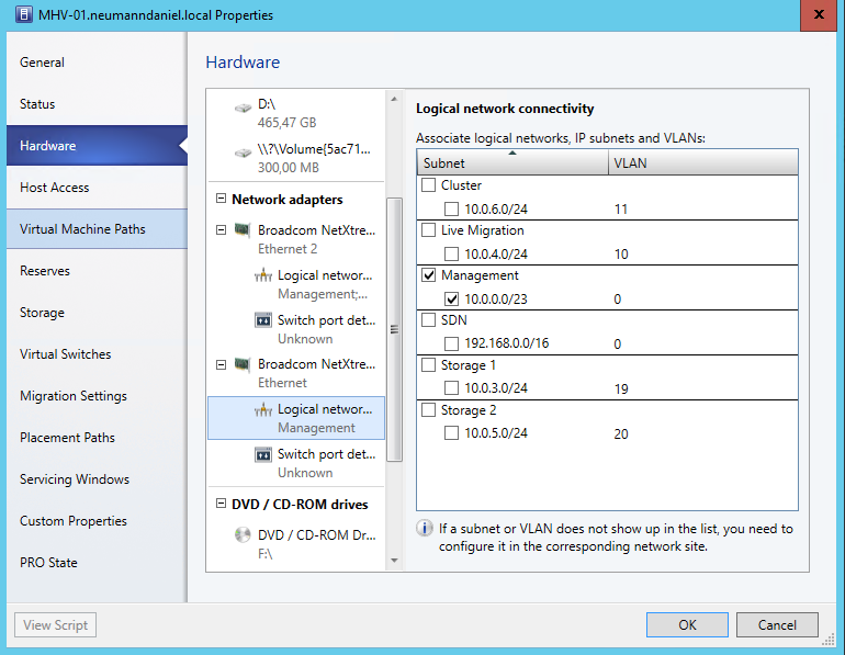 Convert Standard Switch to Logical Switch in System Center