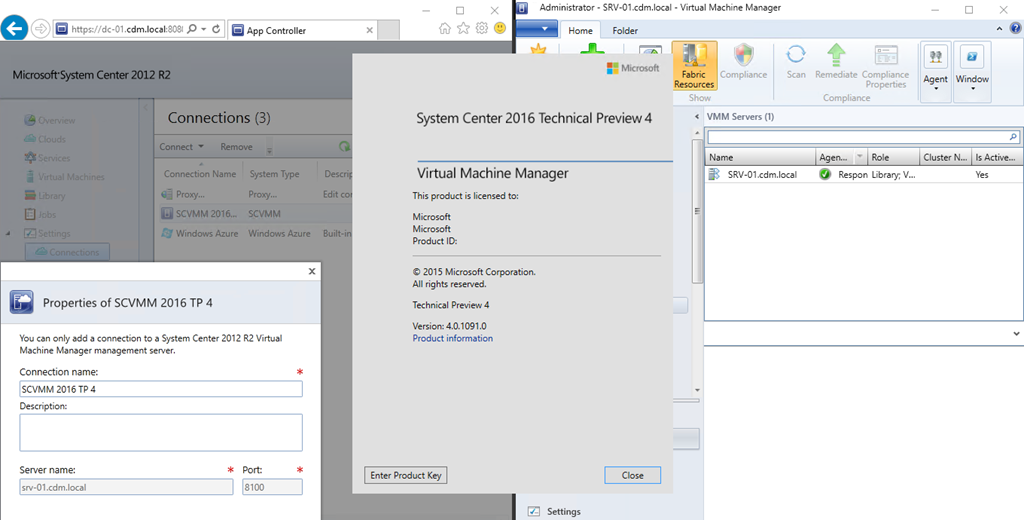 Connecting App Controller 2012 R2 with System Center 2016