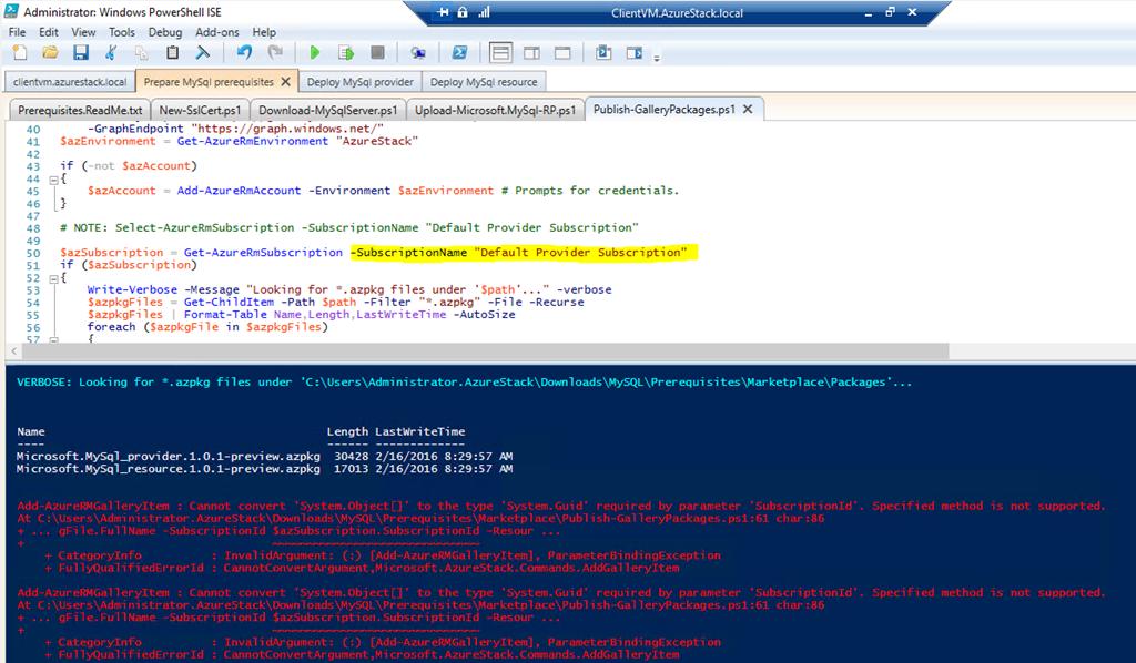 Microsoft Azure Stack TP – MySQL RP Deployment Publish