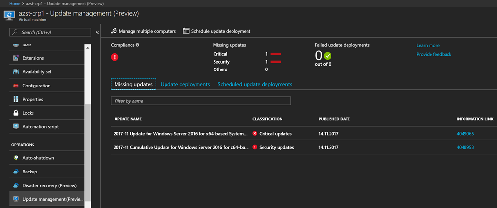 Keeping your Azure VMs up-to-date with the update management