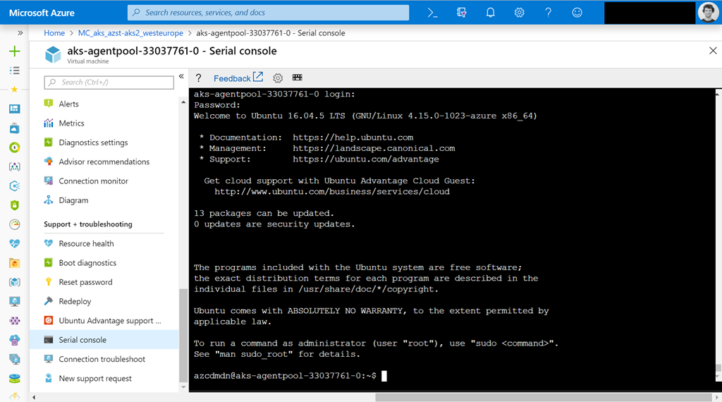 View AKS kubelet logs via serial console for Azure VMs