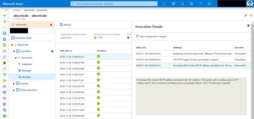 Azure Functions – Azure Kubernetes Service Advanced Networking IP