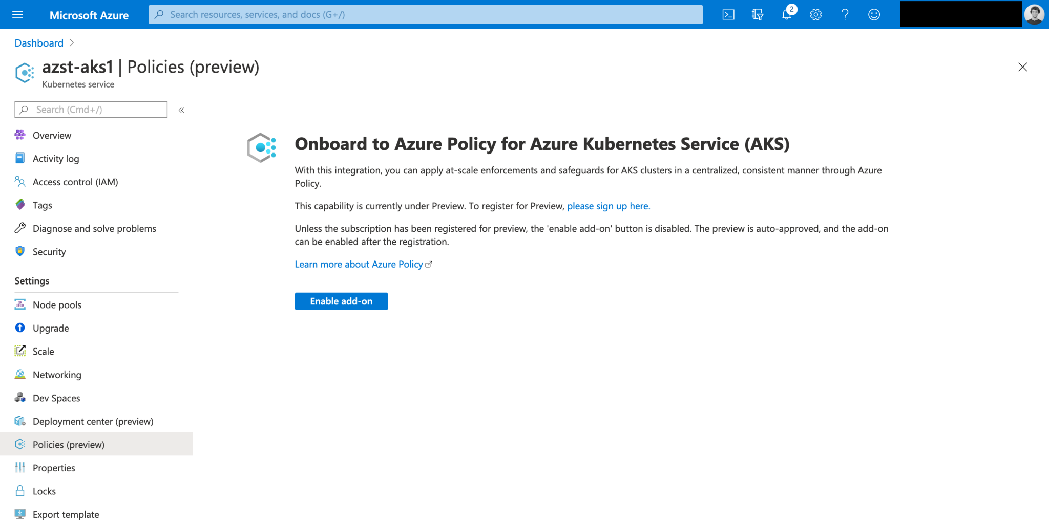 Using Azure Policy for Kubernetes